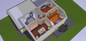 Raumaufteilung mit Einrichtungsgegenständen