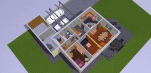 Visualisierung des Erdgeschosses inkl. dem Grundstück